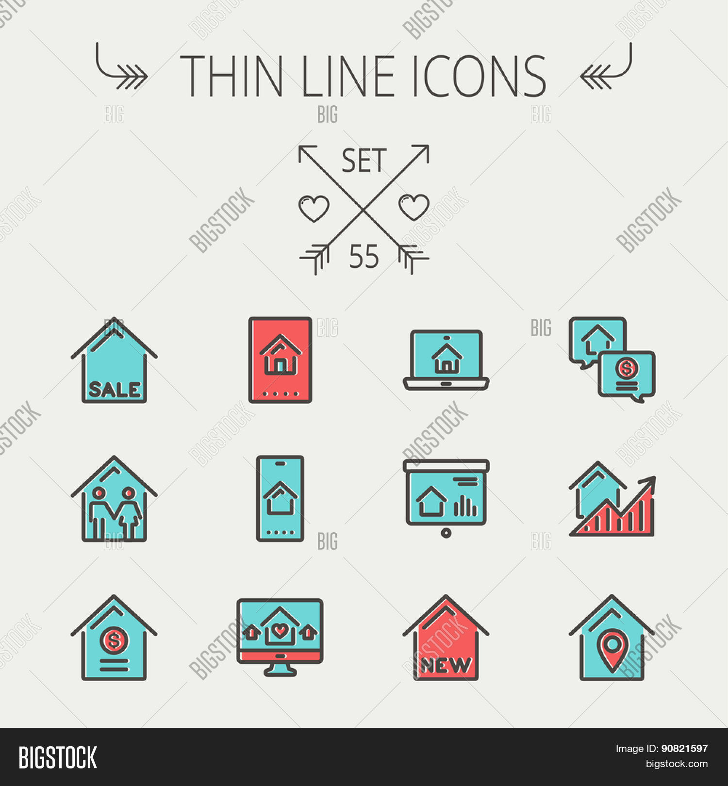 real estate thin line icon set web vector photo