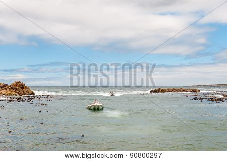 Crayfish Boats Arriving At Kleinmond Harbor.