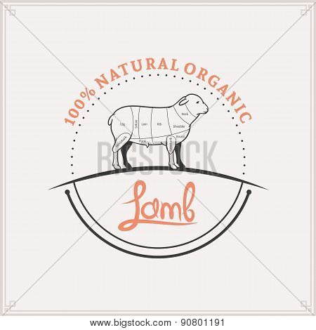 Butcher Shop Label Template, Lamb Cuts Diagram