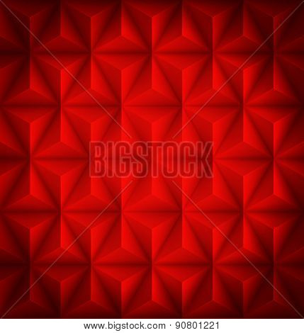 Red Geometric abstract low-poly paper background. Vector illustration