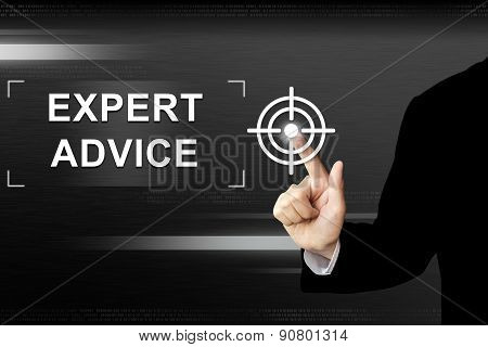 Business Hand Pushing Expert Advice Button On Touch Screen