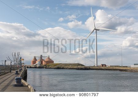 Wind Turbine, Silos, Sculpture On River Blyth, Northumberland