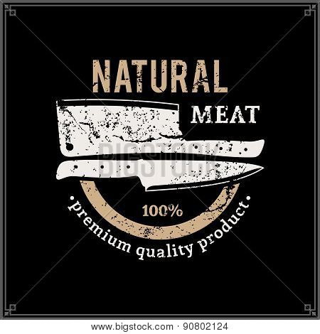 Retro Styled Butcher Shop Label Template with Knives