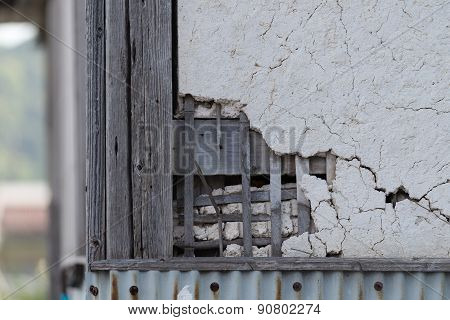 Broken And Cracked Plaster Wall