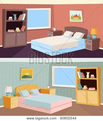 Cartoon Bedroom Apartment Livingroom Interior House Room Retro Vintage Background Vector Illustratio
