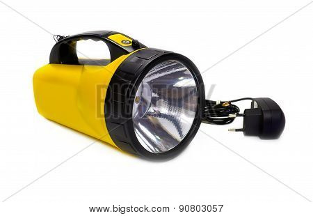 LED Flashlight yellow isolated on white background