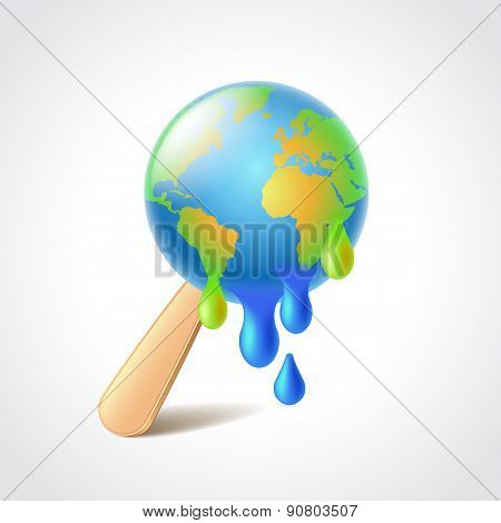 Earth Like Melting Ice Cream Vector Illustration