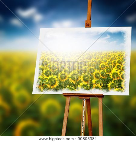 Sunflower Painting On Wooden Easel
