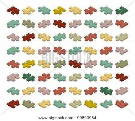 Isometric jigsaw puzzle pieces