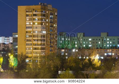 High-rise Building In The Night Sky