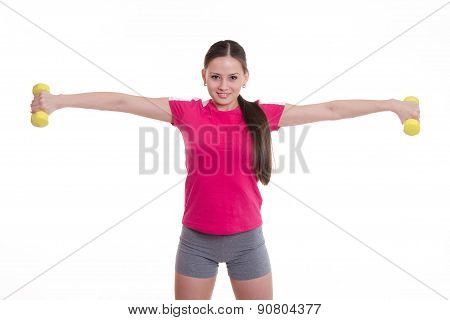 Sportswoman Stretched Both Arms With Dumbbells