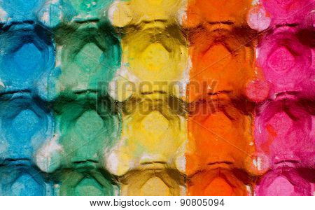 Colorful egg cardboard carton painted