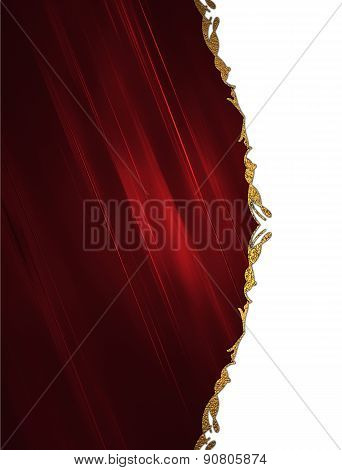 Abstract Red Background With A Gold Border On White Background. Design Template. Design Site