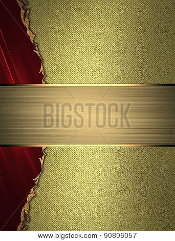 Abstract Red Edge On A Gold Background With Gold Nameplate. Design Template. Design Site