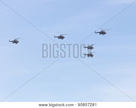 Five Helicopters Mi-8