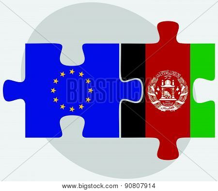 European Union And Afghanistan Flags In Puzzle