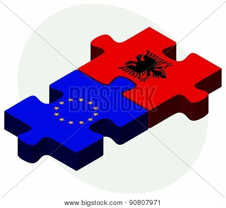 European Union And Albania Flags In Puzzle