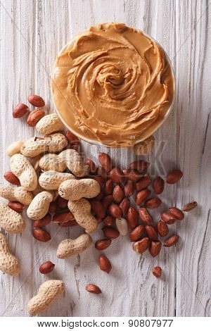 Delicious Fresh Peanut Butter Close-up Vertical Top View