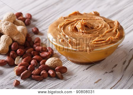 Tasty Peanut Butter In A Bowl Close Up Horizontal