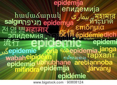 Background concept wordcloud multilanguage international many language illustration of epidemic glowing light