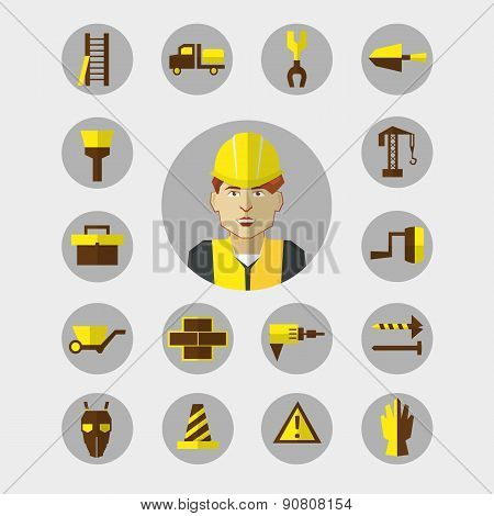 Construction icons set with worker