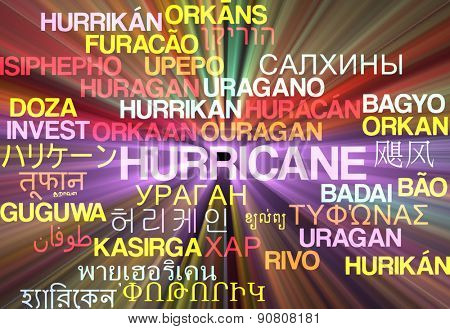 Background concept wordcloud multilanguage international many language illustration of hurricane glowing light