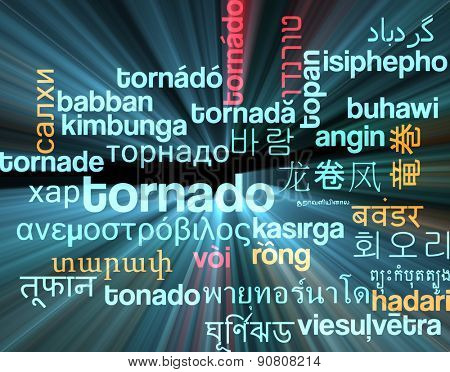 Background concept wordcloud multilanguage international many language illustration of tornado storm glowing light
