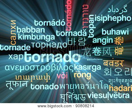 Background concept wordcloud multilanguage international many language illustration of tornado storm glowing light