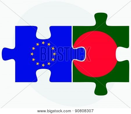 European Union And Bangladesh Flags In Puzzle