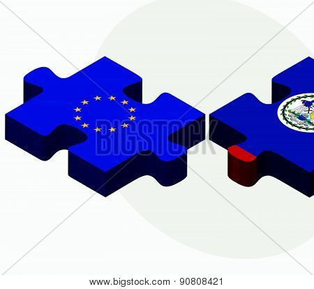 European Union And Belize Flags In Puzzle