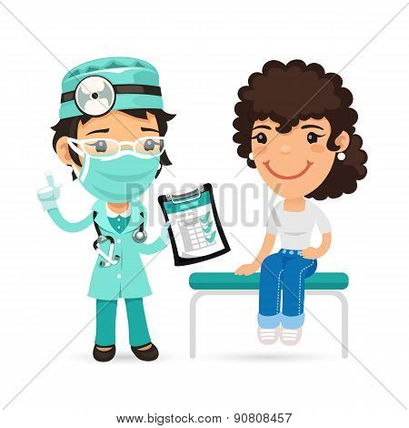 Woman is Sitting on an Examination Table and Listening to a Doctor
