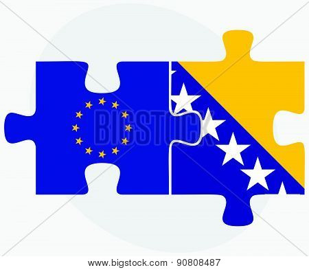 European Union And Bosnia And Herzegovina Flags In Puzzle