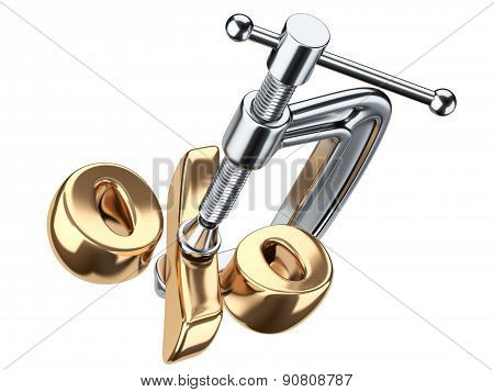Clamp And Gold Percent Symbol. Discount Concept.
