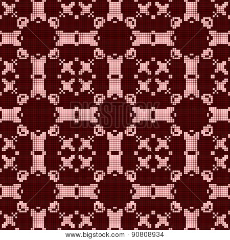 Filet Crochet Lace Design. Seamless Pattern In Red