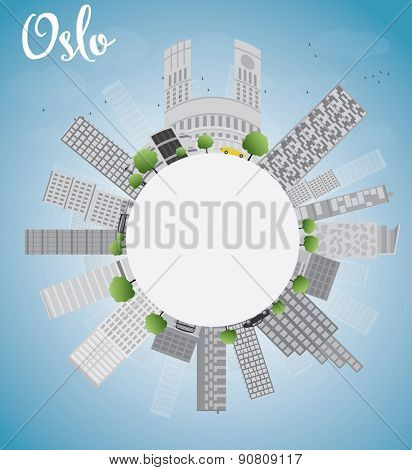 Oslo Skyline with Grey Building, Blue Sky and copy space. Vector Illustration
