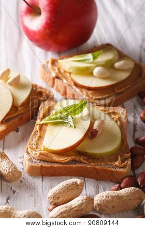 Delicious Sandwiches With Peanut Butter And Apple Vertical