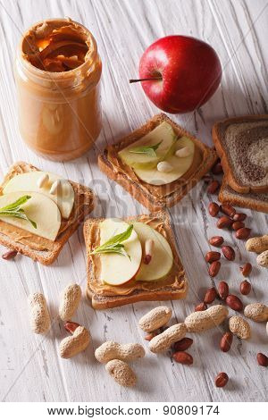 Delicious Sandwiches With Peanut Butter And Apple Closeup