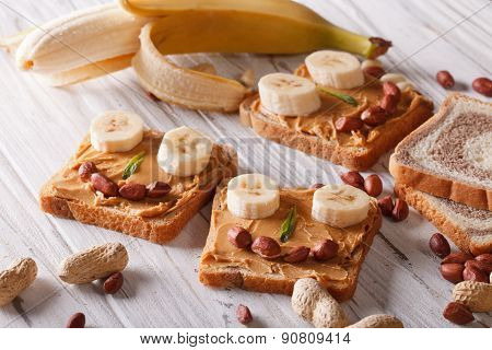 Children Sandwiches With Peanut Butter And Banana