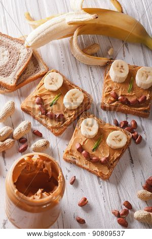 Sandwiches For Children With Peanut Butter Vertical Top View