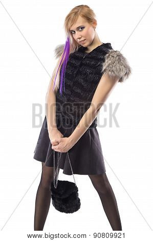 Image of shy woman in fur jacket