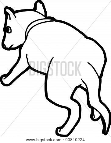 Rear View Outlined Dog