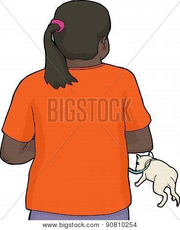 Hispanic Woman Walking Dog