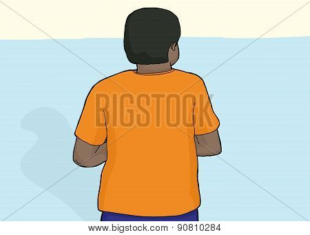 Back Of Person With Blank Shirt