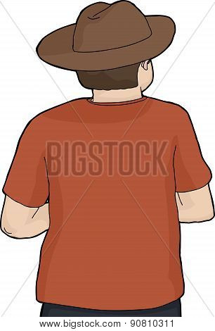 Isolated Back Of Person In Hat