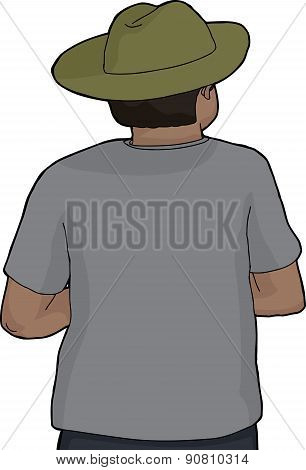 Isolated Back Of Person In Green Hat