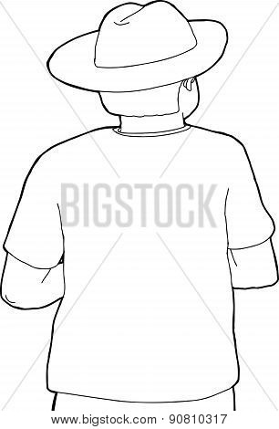 Rear Outline Of Cowboy