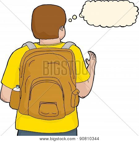 Isolated Person With Backpack Reaching