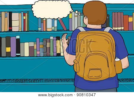 Rear View Of Student At Library