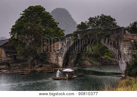Dragon Bridge In Yulong Village, Yangshuo, Guilin, Guangxi Province, China.