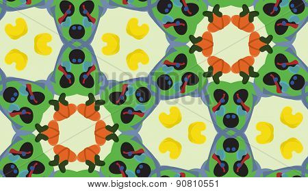 Green Seamless Pattern With Olive Shapes